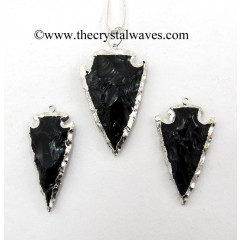 "Black Obsidian 1.50"" - 2"" Rhodium Electroplated Arrowhead Pendants"