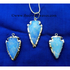 "Opalite   1"" - 1.50"" Rhodium Electroplated Arrowhead Pendants"