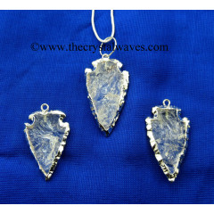 Crystal Quartz Rhodium Electroplated Arrowhead Pendants