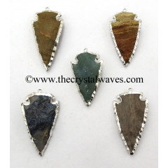 "Fancy Jasper 3.50"" Rhodium Electroplated Arrowhead Pendants"