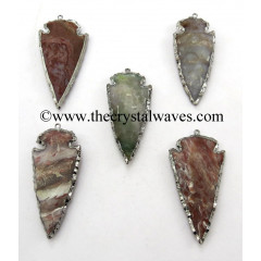 "Fancy Jasper 3"" Black Rhodium Electroplated Arrowhead Pendants"