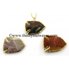 Agate Fish Shape Gold Electroplated Arrowhead Pendants