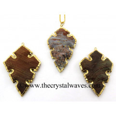 Agate Cross Shape Gold Electroplated Arrowhead Pendants