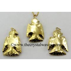 Agate Eagle Shape Full Gold Electroplated Pendants