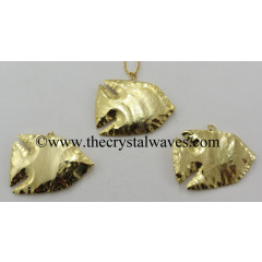 Agate Fish Shape Full Gold Electroplated Pendants