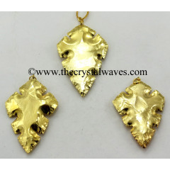Agate Cross Shape Full Gold Electroplated Pendants