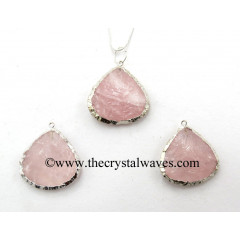 Rose Quartz Heart Handknapped Rhodium Electroplated Pendant
