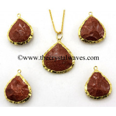 Red Goldstone Heart Handknapped Gold Electroplated Pendant