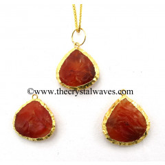 Carnelian Heart Handknapped Gold Electroplated Pendant