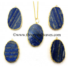 Lapis Egg Shape Gold Electroplated Pendant