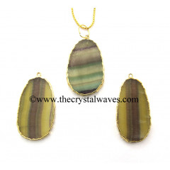 Fluorite Egg Shape Gold Electroplated Pendant