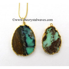Chrysoprase Egg Shape Gold Electroplated Pendant