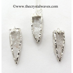 Crystal Quartz 4 Side Handknapped Tooth Rhodium Electroplated Pendant