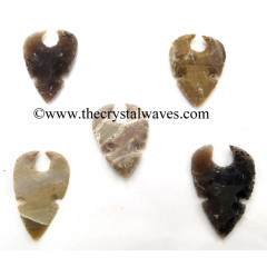 Agate Shark Tooth Shaped Notched Arrowhead