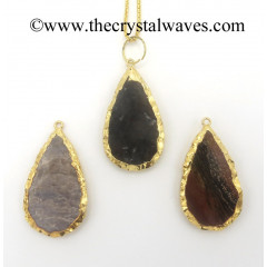 Agate Pear Shape Gold Electroplated Pendants