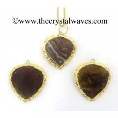 Agate Heart Shape Gold Electroplated Pendants