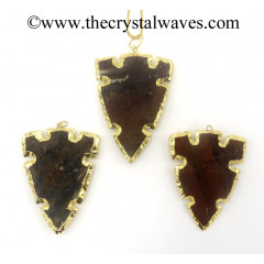 Agate 6 Notch Arrowhead Gold Electroplated Pendants