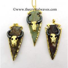 Agate Bull Electroplated Arrowhead Pendant