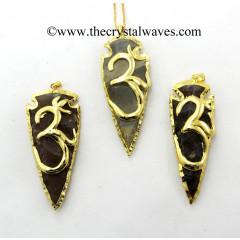 Agate Om Electroplated Arrowhead Pendant