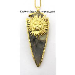 Agate Sun Electroplated Arrowhead Pendant
