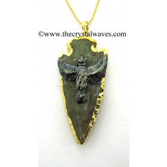 Agate Eagle Electroplated Arrowhead Pendant