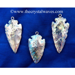 "Mystic Titanium Coated 1 - 1.50""Crystal Quartz Arrowhead Pendants"