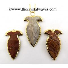 Agate Vase Shape Electroplated Arrowhead Pendants