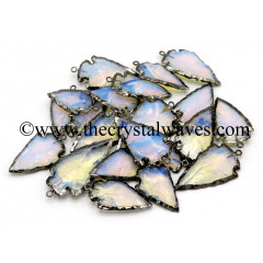 "Opalite   1"" - 1.50"" Black Rhodium Electroplated Arrowhead Pendants"
