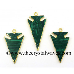 Malachite ManMade Arrowhead Pendants