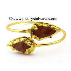 Red Gold Stone  Arrowhead Bangle
