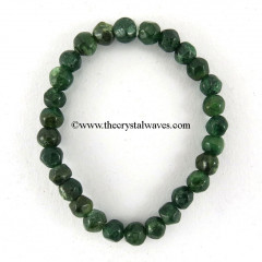Green Aventurine Faceted Drumpolished Round Beads Bracelet