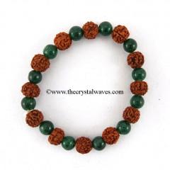 Green Aventurine & Rudraksha Round Beads Bracelet