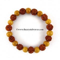 Camel Jasper & Rudraksha Round Beads Bracelet