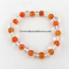 Carnelian  Crystal Quartz Round Beads Bracelet