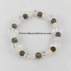 Labradorite Crystal Quartz Round Beads Bracelet