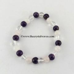 Amethyst Crystal Quartz Round Beads Bracelet