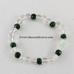 Crystal Quartz & Green Aventurine 3X1 Round Beads Bracelet