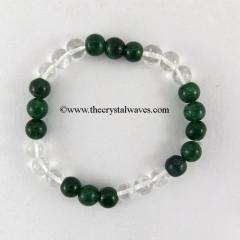 Crystal Quartz & Green Aventurine 3X3 Round Beads Bracelet