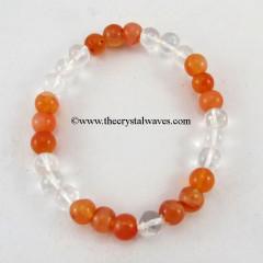 Carnelian & Crystal Quartz Round Beads Bracelet