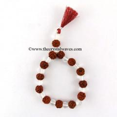 Crystal Quartz & Rudraksha Round Beads Power Bracelet