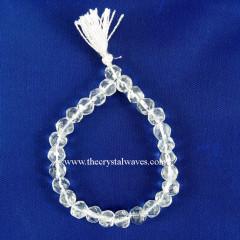 Crystal Quartz Faceted Drum Polish Round Beads Power Bracelet