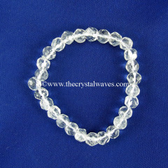 Crystal Quartz Faceted Drum Polished Round Beads Stretchable Bracelet