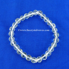 Crystal Quartz Faceted Round Beads Bracelet