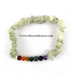 Green Rutilated Quartz Chips  Chakra Bracelet