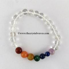 Crystal Quartz Round Beads  Chakra Bracelet