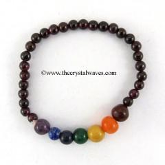 Garnet Round Beads  Chakra Bracelet