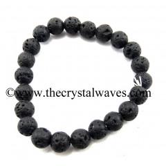 Lava Stone Round Beads Bracelet