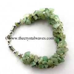 Green Aventurine ( Light) Chips Fuse Wire Bracelet