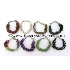Mix Assorted Gemstone Chips Fuse Wire Bracelet