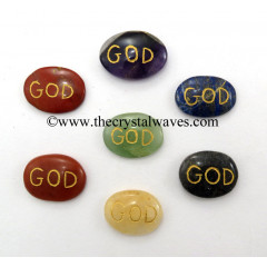 God Engraved Oval Cabochon Chakra Set